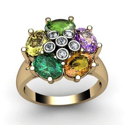 Genuine  2.7 ctw 14k Multi-Color Gemstone Diamond Ring