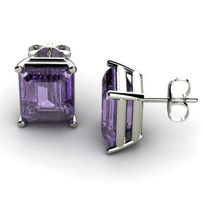 Genuine 14.50 ctw Amethyst Earring 14k W/Y Gold