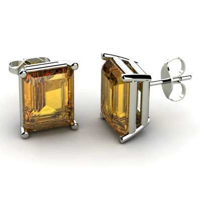 Genuine 3.20 ctw Citrine Earring 14k W/Y Gold