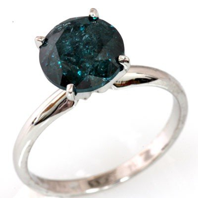 Genuine 2.06ctwSolitaire Blue Diamond Ring 14k SI-I