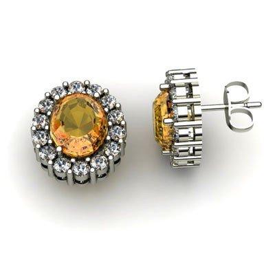 Genuine 3.04 ctw Citrine Diamond Earring 10k W/Y Gold