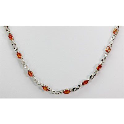 Genuine 8.42 ctw Orange Sapphire Diamond Necklace 14k