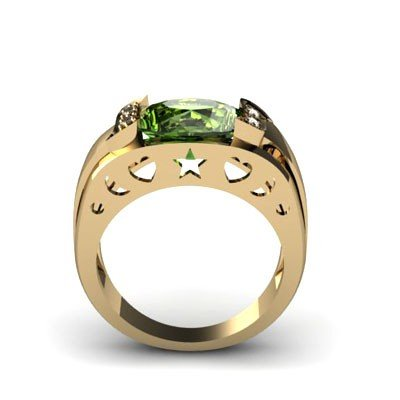 Genuine 3.65 ctw Green Tourmaline Diamond Ring 10kt