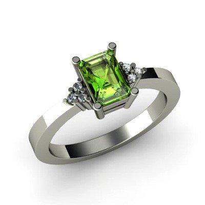 Genuine 0.66 ctw Peridot Diamond Ring 10k