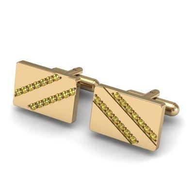 Genuine 1.40 ctw Yellow Sapphire Cufflink 14k W/Y Gold