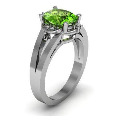 Genuine 1.41 ctw Peridot Diamond Ring W/Y Gold 10kt