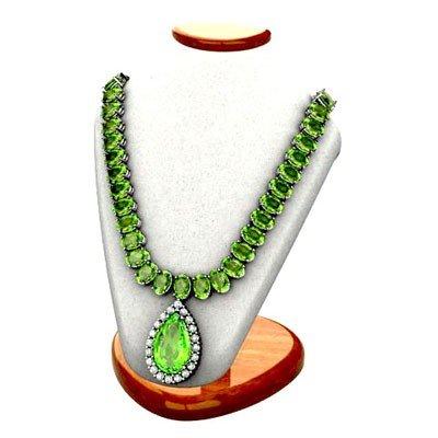 Genuine 42.10ctw Green Tourmaline Necklace W/Y Gold 14k