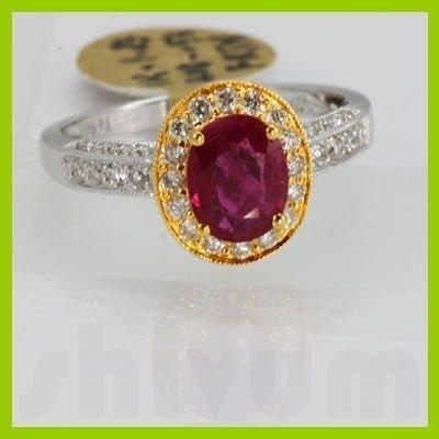 Genuine 1.76 ctw Ruby & Diamond Ring 18KT 2 Tone