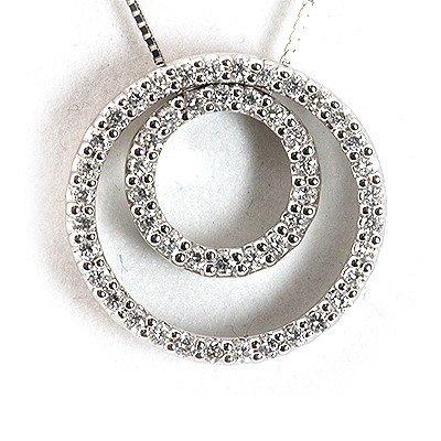 Genuine 0.44 ctw Diamond Double Circle Necklace 18k