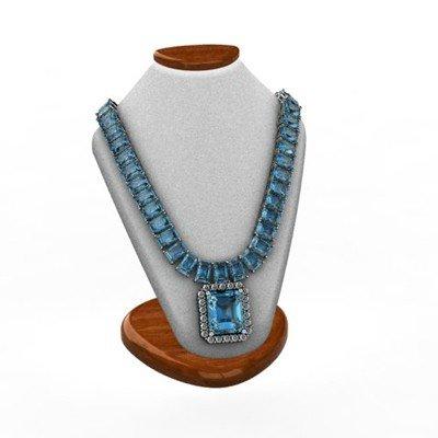 Genuine 58.14 ctwTopaz Diamond Necklace 14k W/Y Gold