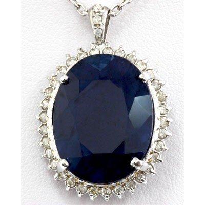 Genuine 23.7 ctw Sapphire Diamond Pendant 14k W/Y Gold