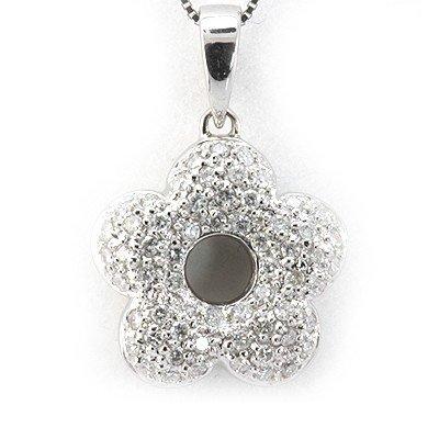Genuine 0.53 ctw Diamond Flower Necklace 18K White Gold
