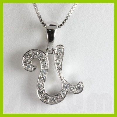 "Genuine 0.15 ctw Letter U Diamond Necklace 16"" 14kt"