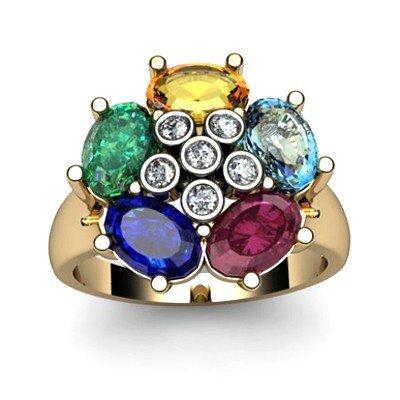 Genuine  2.92 ctw 10k Multi-Color Gemstone Diamond Ring