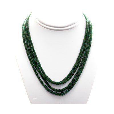 Natural Emerald Round  Beads Necklace w/brass clasp
