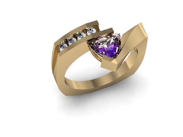 Genuine 0.67 ctw Amethyst Trillion Diamond Ring 14k