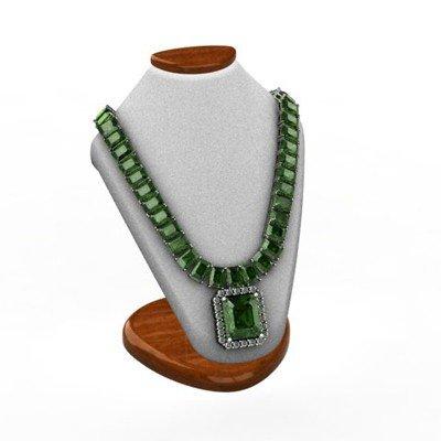 Genuine 54.14 ctw Green Tourmaline Diamond Necklace 14k