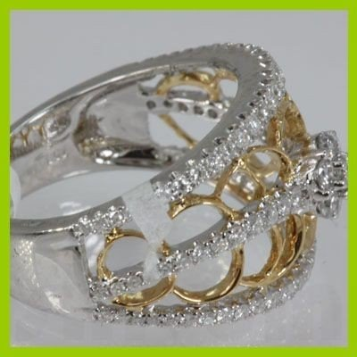 Genuine  0.79 ctw Diamond Ring 18KT 2 TONE