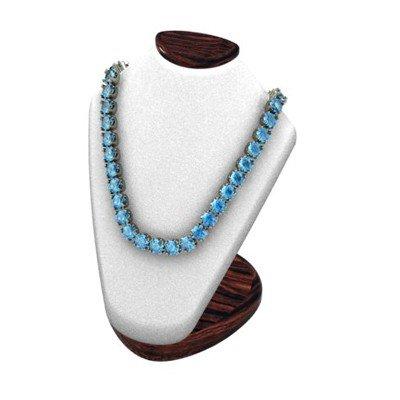 Blue Topaz 21.60 ctw Round Necklace 14kt W/Y Gold
