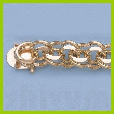 "Genuine 7.5"" 14k  Gold-Yellow 11.0mm Charm Bracelets"