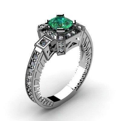 Genuine 1.48 ctw Emerald Diamond Ring 10k