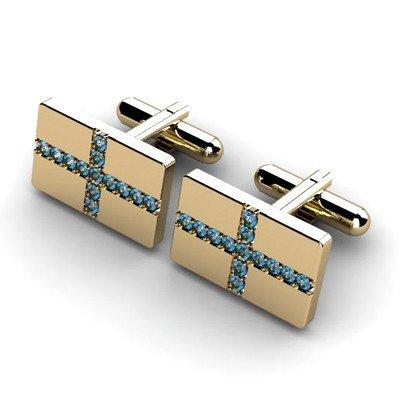 Genuine 1.04 ctw Aqua Marine Cufflink 14k W/Y Gold