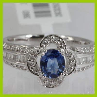 Genuine  1.12 ctw Diamond Sapphire Ring 18K White Gold