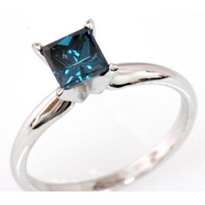 Genuine 0.75 ctw Princess Cut Blue Diamond Ring 14k