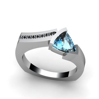 Genuine 1.20 ctw Topaz  Euro Shank Diamond Ring 14k