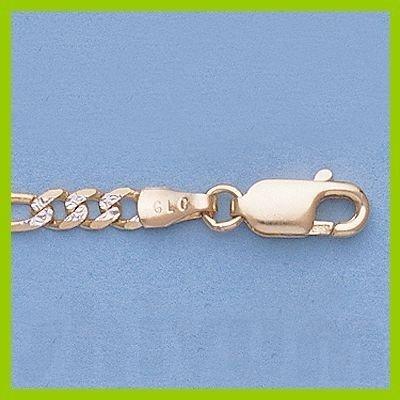 """Genuine 16"""" 14k  Gold-Yellow 3.0mm Rhod Figaro Chain"""