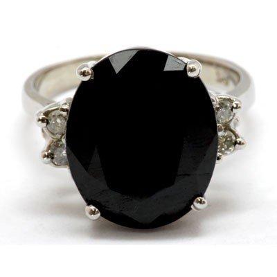 Genuine 9.54 ctw Dark Blue Sapphire Diamond Ring 10k
