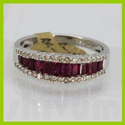 Genuine 1.53 ctw Ruby & Diamond Ring 18KT White Gold