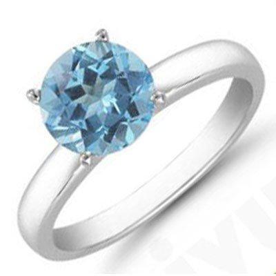 Aqua Marine 0.75 ctw Solitaire Ring 14kt W/Y  Gold
