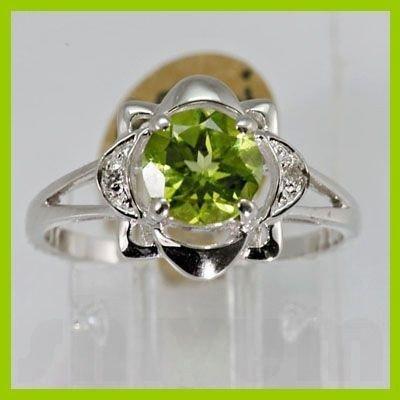 Genuine 1.40 ctw Peridot & Diamond Ring 14KT White Gold
