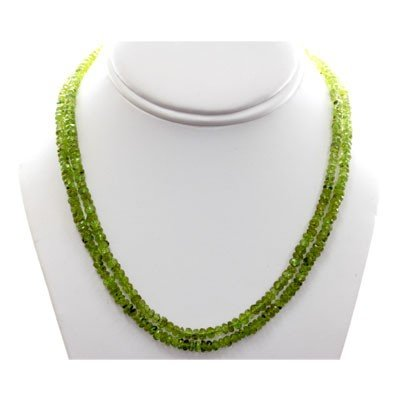 Natural Peridot Round Faceted Beads Necklace