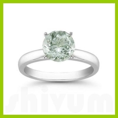 Genuine 0.85 Green Amethyst Solitaire Ring 14kt