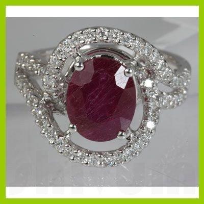 Genuine 4.93 ctw Ruby & Diamond Ring 18kt Gold-White