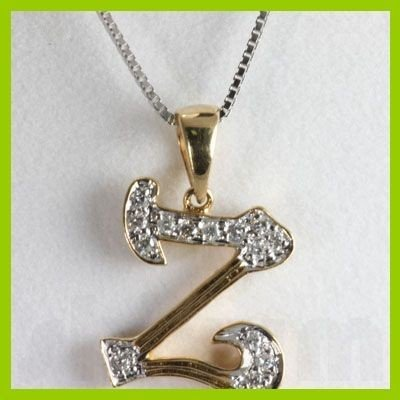 "Genuine 0.10 ctw Letter Z Diamond Necklace 16"" 14kt"