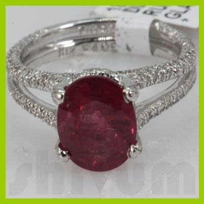 Genuine 4.58 ctw 18k Ruby & Diamond White Gold Ring