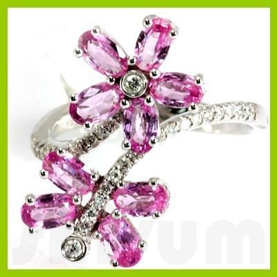 Genuine 2.61 ctw Flower Pink Sapphire Diamond Ring 14kt