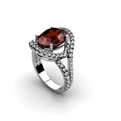 Garnet 4.87 ctw & Diamond Ring 18kt W/Y  Gold