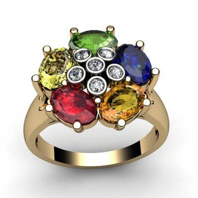 Genuine  2.93 ctw 14k Multi-Color Gemstone Diamond Ring