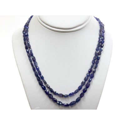Tanzanite pillet beads 2 rows 147.80 ctw Necklace