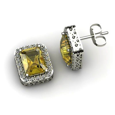 Genuine 3.50 ctw Citrine Diamond Earring 14k W/Y Gold