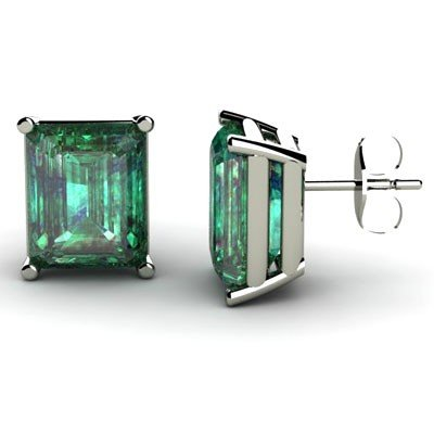 Genuine 4.62 ctw Emerald Earring 14k W/Y Gold