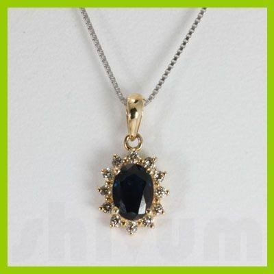 "Genuine 0.74 ctw  Sapphire & Diamond Necklace 16"" 14kt"