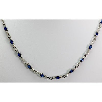 Genuine 8.42 ctw Sapphire Diamond Necklace14k
