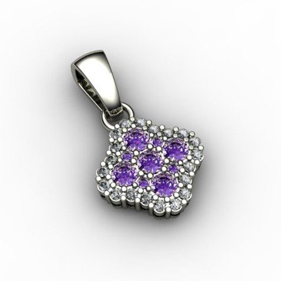Genuine 0.52 ctw Amethyst Diamond Pendant 14k W/Y Gold