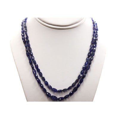 Tanzanite pillet beads 2 rows 176.0 ctw Necklace