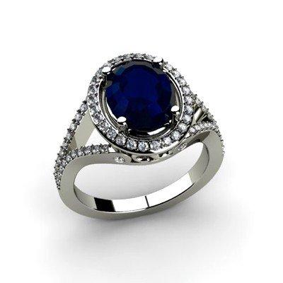 Sapphire 3.73 ctw & Diamond Ring 14kt W/Y  Gold